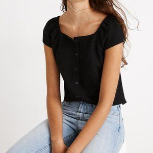 Madewell Black Texture & Thread Button-Front Top